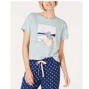 Jennifer Moore Graphic-Print Pajama Shirt-Blue -L